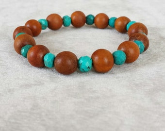Turquoise and Natural wood beaded bracelet for men, Anniversary gift for him, Gift for boyfriend, Gift for husband, Gift for brother