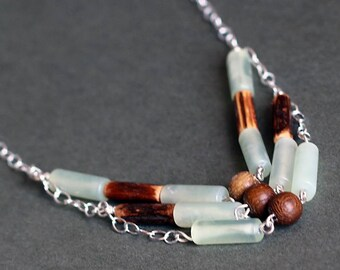 Seagreen Serpentine and Wood Sterling Silver Stacked Necklace
