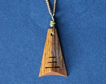 Warm Wood Pyramidal Pendant Necklace