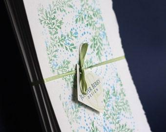 Spring Rain Notecards, set of 4, gocco printed