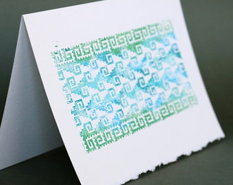 Mitla Wave Notecards, set of 4, gocco printed