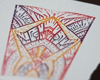 Deco Glass Notecards, set of 4, gocco printed