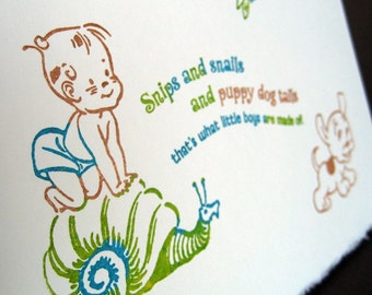 Snips and snails and puppy dog tails notecard