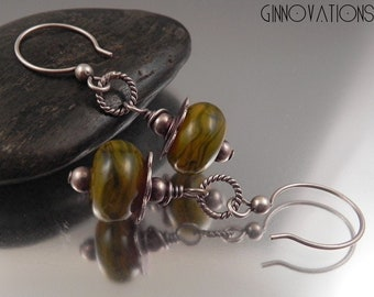 Ginnovations lampwork, Avocado Swirl lampwork and sterling earrings