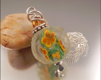 Ginnovations lampwork, Topaz Rose pendant, coldworked, with optional sterling chain
