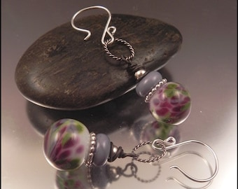 Ginnovations lampwork, Wishgarden lampwork and sterling earrings