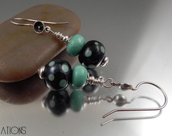 Ginnovations lampwork, Mint Polka Dot lampwork, Turquoise and Sterling earrings