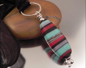 Ginnovations lampwork, Festival pendant, optional silk ribbon
