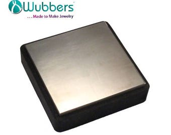 4 inch Square Steel Bench Block with Rubber Base