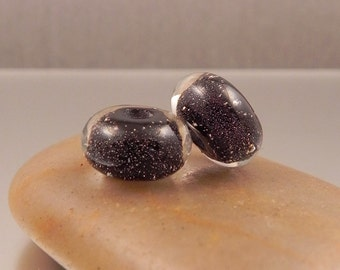 Ginnovations lampwork, Night Sky bead pair (2 beads)