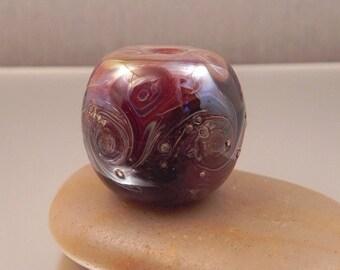 Ginnovations lampwork, Glazed Caramel focal bead