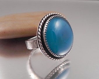 Ginnovations lampwork, Ocean Blue Sterling Silver and glass ring