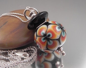 Ginnovations lampwork, Midnight pendant, optional Sterling Silver Chain