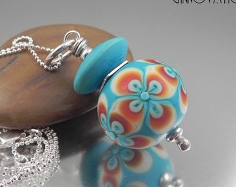 Ginnovations lampwork, Frosted Turquoise pendant, optional Sterling Silver Chain