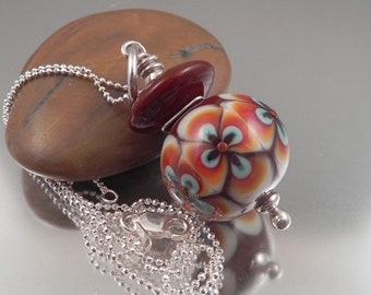 Ginnovations lampwork, Texas Chocolate pendant, optional Sterling Silver Chain