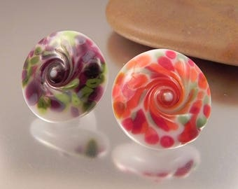Ginnovations lampwork,Confetti Glass Shank Button Pair