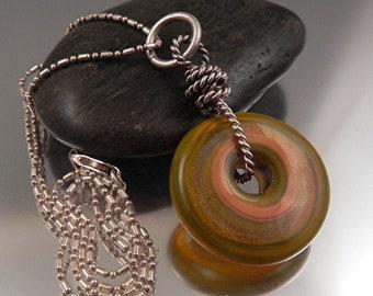 Ginnovations lampwork, Avocado Swirl pendant, optional sterling chain