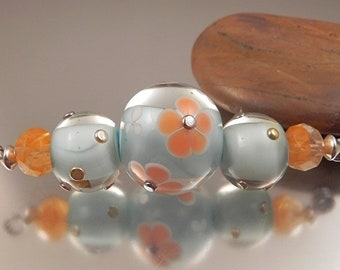 Ginnovations lampwork, Tangerine Dream bead set (3  beads)