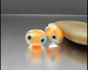 Ginnovations lampwork, Mango Whimsy bead pair (2 beads)
