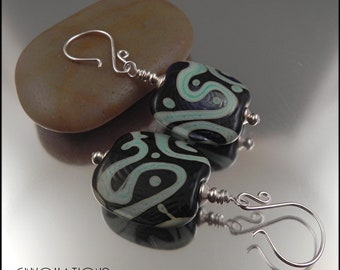 Ginnovations lampwork, Mint Crunch lampwork and sterling earrings