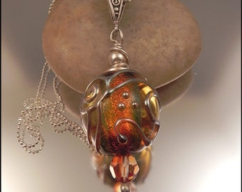Ginnovations lampwork, Dazzling Dichroic pendant, optional sterling chain
