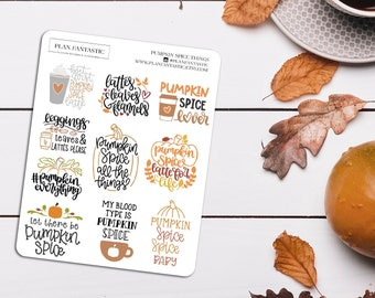 Pumpkin Spice Quotes Planner Stickers   Fall   Lettering   Cute   Autumn   Hobo   Bujo   Bullet Journal   Hobonichi