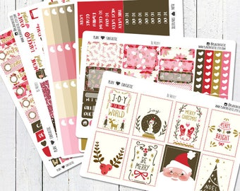 Christmas Planner Sticker Kit, December Weekly Stickers, for use in Erin Condren Life Planner™