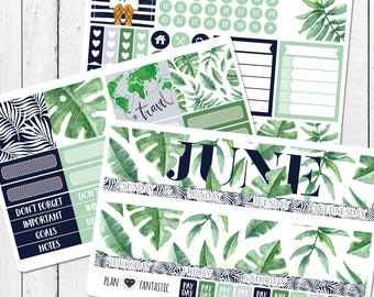 June Tropical Monthly Kit - Tropical Palm Calendar Stickers for use with ERIN CONDREN LIFEPLANNER™