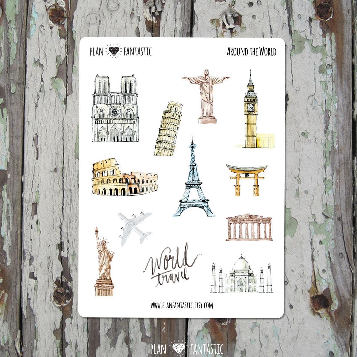 voyage planner stickers autour du monde deco diary | etsy
