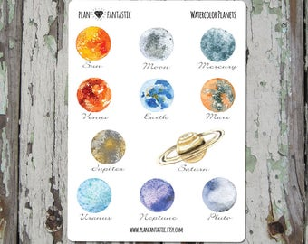 Watercolor Space Planner Stickers  - Planets  - deco - bullet journal - diary - bujo
