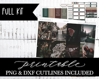 October Printable Planner Sticker Kit, Autumn, Fall Weekly, PNG DXF Cutlines included for use with Silhouette™ or Cricut™