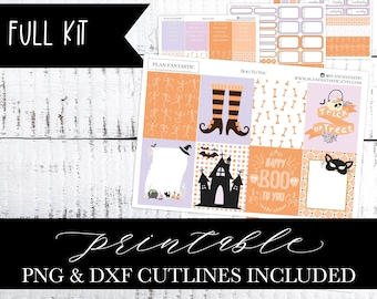 Halloween Printable Planner Sticker Kit, Cute Pumpkins, DIY, Fall Weekly, PNG DXF Cutlines included for use with Silhouette™ or Cricut™