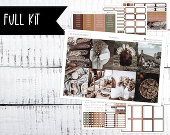 Thanksgiving Weekly Sticker Kit, NovemberPlanner Stickers, Fall Autumn Weekly Kit for use in Erin Condren Life Planner™