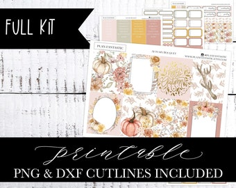 Fall Printable Planner Sticker Kit, Watercolor Pumpkins, DIY, Fall Weekly, PNG DXF Cutlines included for use with Silhouette™ or Cricut™