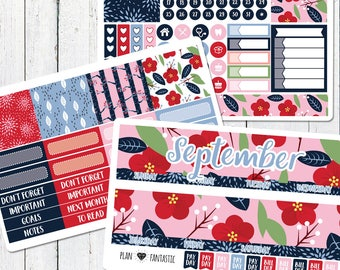 September Monthly Planner Sticker Kit - Monthly Calendar Stickers for use with ERIN CONDREN LIFEPLANNER™ or Recollections Planner