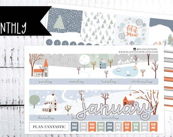 January Monthly Planner Sticker Kit - Winter -New Years -  for use with ERIN CONDREN LIFEPLANNER™