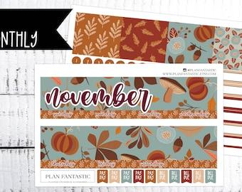 November Monthly Planner Sticker Kit - Fall Monthly Sticker Kit - Fall Month on 2 Pages - for use with ERIN CONDREN LIFEPLANNER™