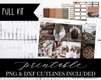 Thanksgiving Printable Planner Sticker Kit, Autumn, Fall Weekly, PNG DXF Cutlines included for use with Silhouette™ or Cricut™