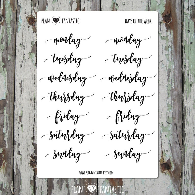 19e916cb9a5aa Bullet Journal Stickers - Days of the Week Planner Stickers - Set 3 - diary  - hobonichi