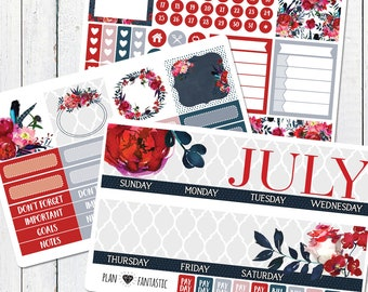 July Monthly Planner Kit - Patriotic Glam Peonies - Calendar Stickers for use with ERIN CONDREN LIFEPLANNER™ Calendar