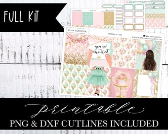 Birthday Printable Planner Sticker Kit, Watercolor Bday, DIY, Floral Weekly, PNG DXF Cutlines included for use with Silhouette™ or Cricut™