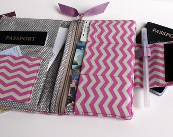 Travel or Passport Organizer Wallet Smart phone Wallet Orchid Purple Chevron printed fabric , Ready to Ship