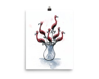 A Bouquet of Flamingos - Print