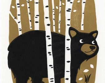 Bear - Letterpress mini print
