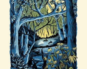 Summer of the Rabbit - Screenprinted Art Print