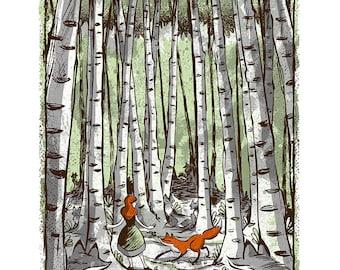 Birch Trees - Screenprinted Art Print