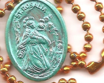 Shelter in Place,  St Rosalia Patron Saint Medal on Orange Ball Chain