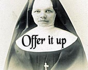 Offer It UP  Nun Advice Glass Pendant on Black Ball Chain
