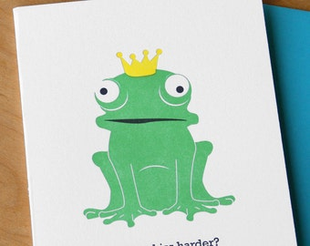 Whimsical Illustration Signed and Numbered Frog Prince Kiss the Cook Framed Art