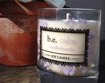 Vanilla Lavender Soy Candle, Handcrafted, be calm, Vegan Candle